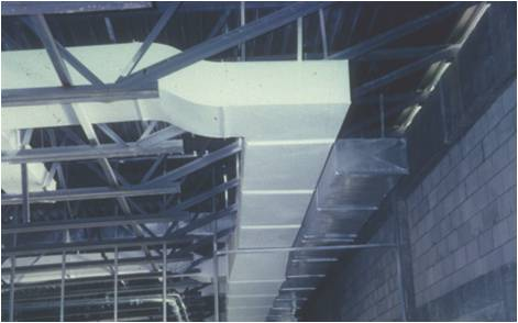 Coated ductwork in a light manufacturing plant